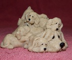 basset hound mama figurine with puppies called Peache's Puppies by Quarry Critters collectible